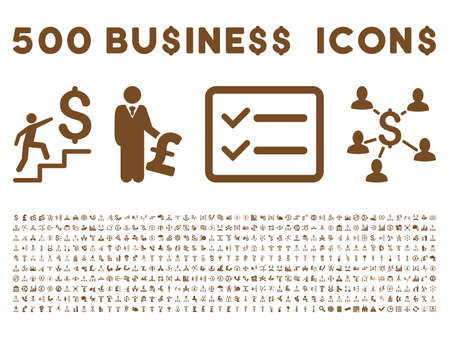 500 American and British business vector icons. Style is brown flat icons on a white background.