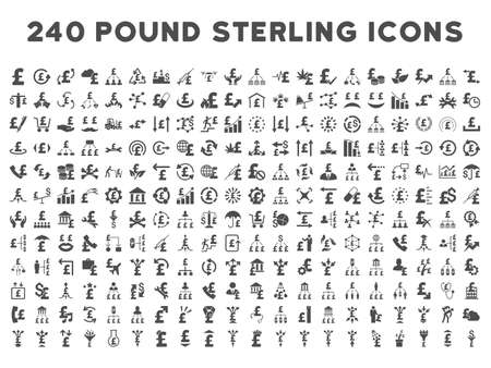share prices: 240 British Business vector icons. Style is gray flat symbols on a white background. Pound sterling icon is basic element. Illustration