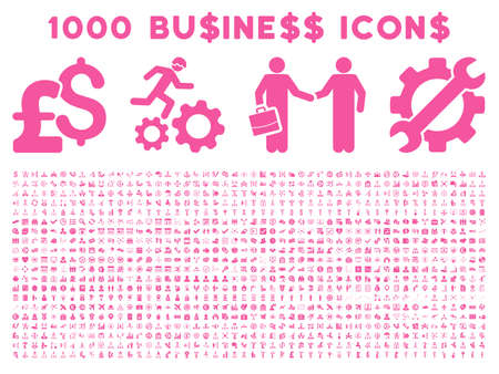 cash register building: 1000 Business vector icons. Pictogram style is pink flat icons on a white background. Pound and dollar currency icons are used Illustration