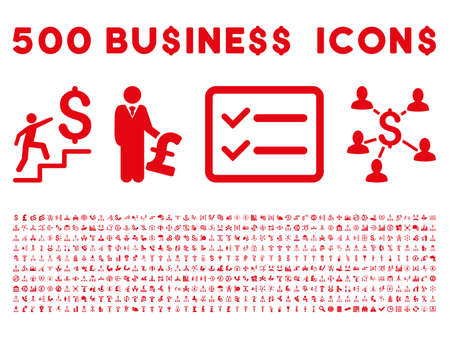payphone: 500 American and British business vector icons. Style is red flat icons on a white background.