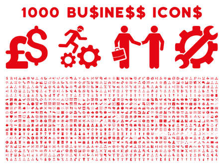 1000 Business vector icons. Pictogram style is red flat icons on a white background. Pound and dollar currency icons are used