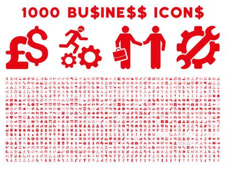 1000 Business-Vektor-Icons. Piktogramm-Stil ist rot flache Ikonen auf einem weißen Hintergrund. Pfund und Dollar-Währung-Symbole verwendet werden,