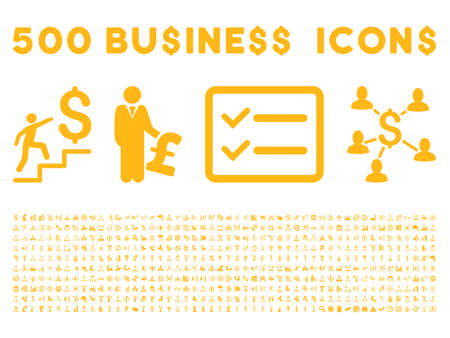 500 American and British business vector icons. Style is yellow flat icons on a white background.