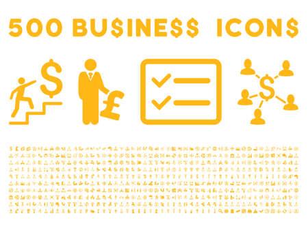 500 미국과 영국 비즈니스 벡터 아이콘입니다. 스타일은 흰색 배경에 노란색 플랫 아이콘입니다.