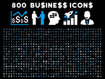 time account: 800 Business vector icons. Style is bicolor blue and white flat symbols on a black background. Illustration