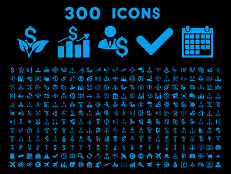 300 Business vector icons. Style is blue flat symbols on a black background.