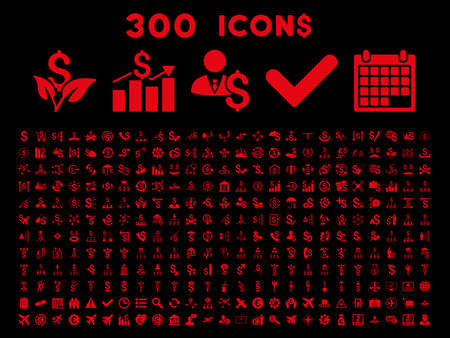payphone: 300 Business vector icons. Style is red flat symbols on a black background.