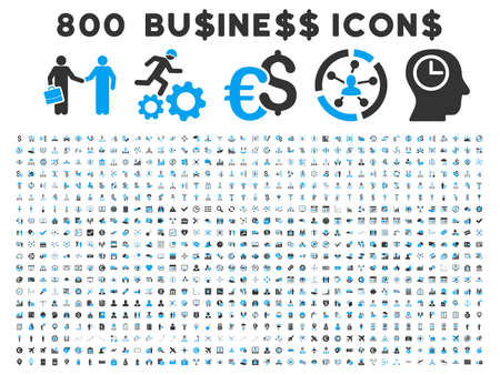 cash register building: 800 Business vector icons. Style is bicolor blue and gray flat symbols on a white background.