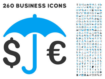 financial protection: Financial Protection icon within 260 vector business pictogram set. Style is bicolor flat symbols, light blue and gray colors, white background.