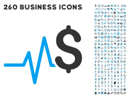 pulsation: Financial Pulse icon within 260 vector business pictogram set. Style is bicolor flat symbols, light blue and gray colors, white background. Illustration