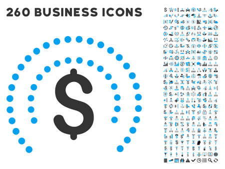 Financial Sphere Shield icon within 260 vector business pictogram set. Style is bicolor flat symbols, light blue and gray colors, white background.
