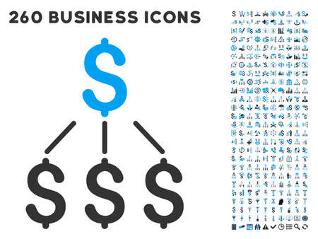 dependencies: Financial Structure icon within 260 vector business pictogram set. Style is bicolor flat symbols, light blue and gray colors, white background.