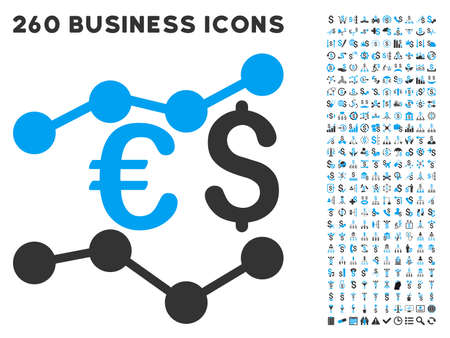 Financial Trends icon within 260 vector business pictogram set. Style is bicolor flat symbols, light blue and gray colors, white background.