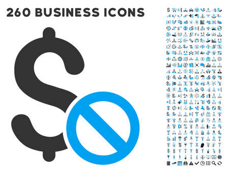 failed strategy: Forbidden Payment icon within 260 vector business pictogram set. Style is bicolor flat symbols, light blue and gray colors, white background. Illustration