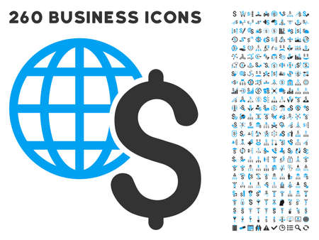 payer: Global Economics icon within 260 vector business pictogram set. Style is bicolor flat symbols, light blue and gray colors, white background.