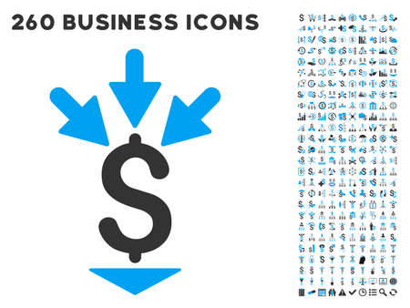 Integrate Payment icon within 260 vector business pictogram set. Style is bicolor flat symbols, light blue and gray colors, white background. Vektorové ilustrace