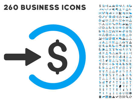 Income icon within 260 vector business pictogram set. Style is bicolor flat symbols, light blue and gray colors, white background.
