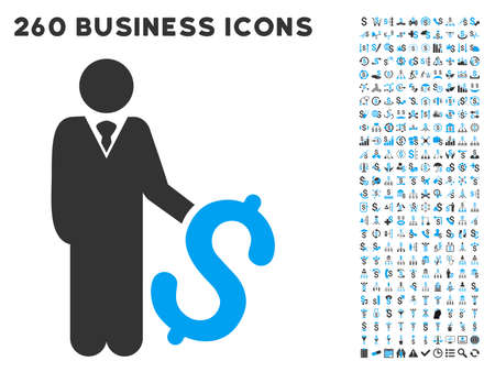 economics: Investor icon within 260 vector business pictogram set. Style is bicolor flat symbols, light blue and gray colors, white background.