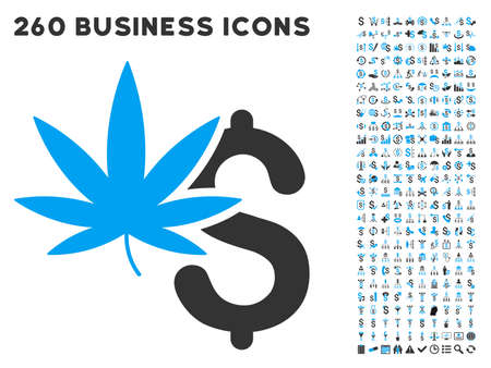 payer: Marijuana Business icon within 260 vector business pictogram set. Style is bicolor flat symbols, light blue and gray colors, white background.