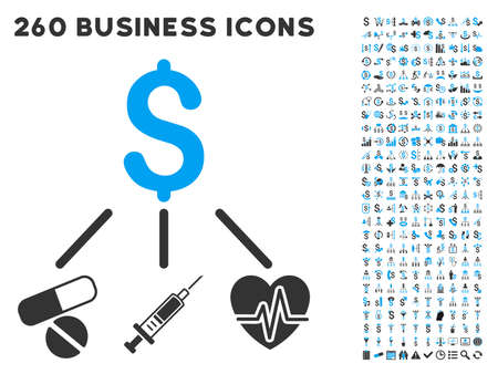 Medical Budget icon within 260 vector business pictogram set. Style is bicolor flat symbols, light blue and gray colors, white background.