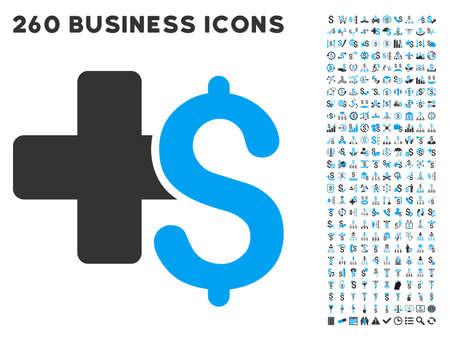 Médicale icône d'affaires au sein de 260 vecteur pictogramme d'affaires ensemble. Le style est des symboles plats bicolor, couleurs bleu et gris clair, fond blanc.