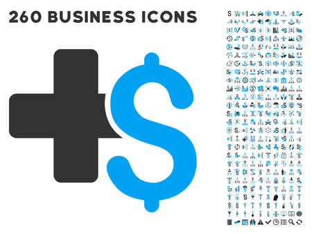 integrate: Medical Business icon within 260 vector business pictogram set. Style is bicolor flat symbols, light blue and gray colors, white background.