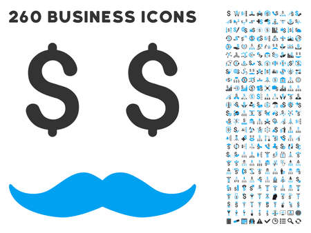 millionaire: Millionaire Mustache icon within 260 vector business pictogram set. Style is bicolor flat symbols, light blue and gray colors, white background.