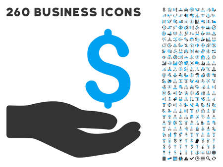 Money Donation icon within 260 vector business pictogram set. Style is bicolor flat symbols, light blue and gray colors, white background.