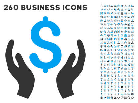 Money Care Hands icon within 260 vector business pictogram set. Style is bicolor flat symbols, light blue and gray colors, white background. Ilustracja