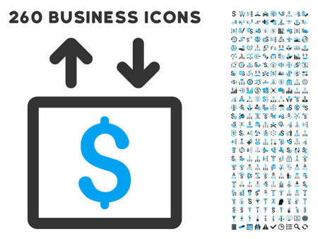 budget repair: Money Elevator icon within 260 vector business pictogram set. Style is bicolor flat symbols, light blue and gray colors, white background. Illustration