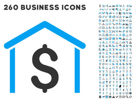 blue icon: Money Garage icon within 260 vector business pictogram set. Style is bicolor flat symbols, light blue and gray colors, white background.