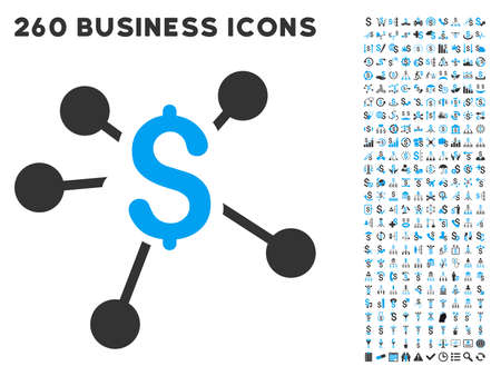 aggregator: Money Distribution icon within 260 vector business pictogram set. Style is bicolor flat symbols, light blue and gray colors, white background.