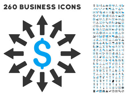 Money Distribution icon within 260 vector business pictogram set. Style is bicolor flat symbols, light blue and gray colors, white background.