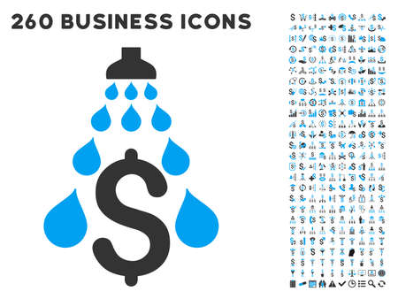 cleaning debt: Money Laundering icon within 260 vector business pictogram set. Style is bicolor flat symbols, light blue and gray colors, white background. Illustration