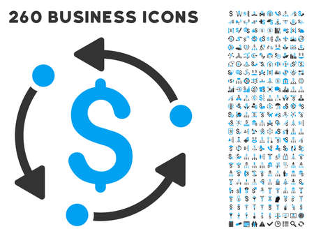 financial cycle: Money Rotation icon within 260 vector business pictogram set. Style is bicolor flat symbols, light blue and gray colors, white background.