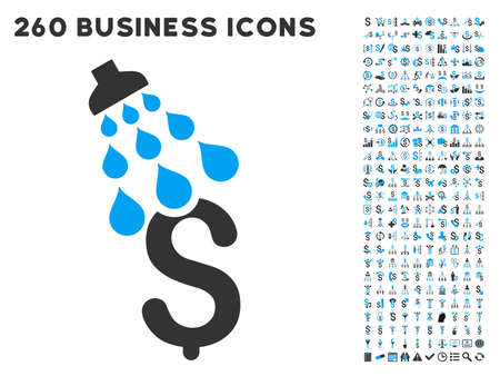 laundering: Money Shower icon within 260 vector business pictogram set. Style is bicolor flat symbols, light blue and gray colors, white background.