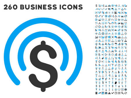 money sphere: Money Sphere icon within 260 vector business pictogram set. Style is bicolor flat symbols, light blue and gray colors, white background.
