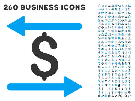 Money Transactions icon within 260 vector business pictogram set. Style is bicolor flat symbols, light blue and gray colors, white background.