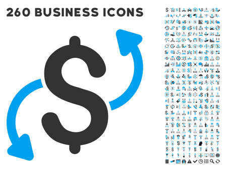 call outs: Money Transfer icon within 260 vector business pictogram set. Style is bicolor flat symbols, light blue and gray colors, white background.