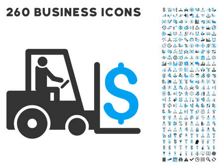 Money Warehouse icon within 260 vector business pictogram set. Style is bicolor flat symbols, light blue and gray colors, white background. Illustration