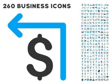 Moneyback icon within 260 vector business pictogram set. Style is bicolor flat symbols, light blue and gray colors, white background.