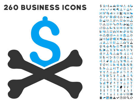 mortal: Mortal Debt icon within 260 vector business pictogram set. Style is bicolor flat symbols, light blue and gray colors, white background.