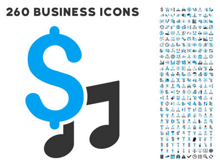 commercial tree care: Music Price icon within 260 vector business pictogram set. Style is bicolor flat symbols, light blue and gray colors, white background. Illustration