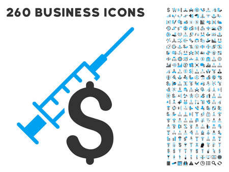 narcotic: Narcotic Business icon within 260 vector business pictogram set. Style is bicolor flat symbols, light blue and gray colors, white background.