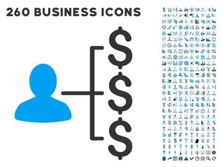 payer: Payer Relations icon within 260 vector business pictogram set. Style is bicolor flat symbols, light blue and gray colors, white background.