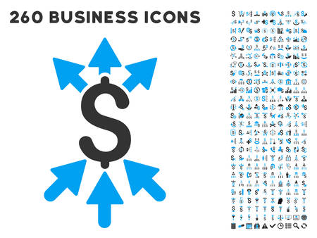 Payment Broker icon within 260 vector business pictogram set. Style is bicolor flat symbols, light blue and gray colors, white background. Ilustracja