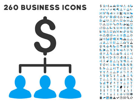 divide: Payment Relations icon within 260 vector business pictogram set. Style is bicolor flat symbols, light blue and gray colors, white background.