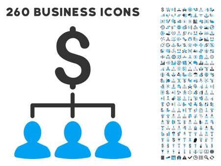 Relations de paiement icône au sein de 260 vecteur pictogramme d'affaires ensemble. Le style est des symboles plats bicolor, couleurs bleu et gris clair, fond blanc. Vecteurs