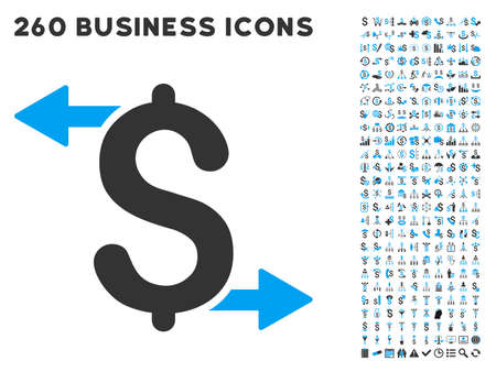 call outs: Payouts icon within 260 vector business pictogram set. Style is bicolor flat symbols, light blue and gray colors, white background.