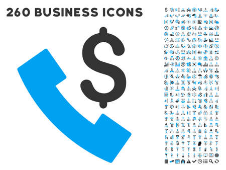 Payphone icon within 260 vector business pictogram set. Style is bicolor flat symbols, light blue and gray colors, white background. Ilustracja